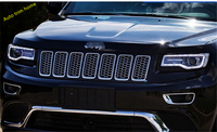 Silver / Black Plastic Front 3D Mesh Racing Grilles Insert Prevent Bug Dirt Grill For Jeep Grand Cherokee 2014 2015
