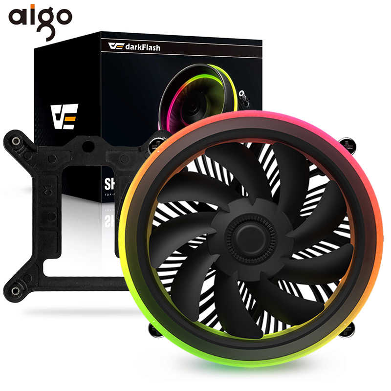 Aigo Shadow CPU Cooler DP Mulai dari 280W PWM LED Aura SYNC 3 P-5 V 4pin Double Ring RGB CPU Fan Heatsink Cooling untuk Intel Core I7 LGA 115X