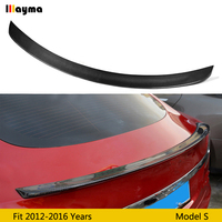 Carbon Fiber rear trunk spoiler For Tesla Model S 60D 70 85 90 P100D 2012 2016 year Model s sport style CF spoiler Wing