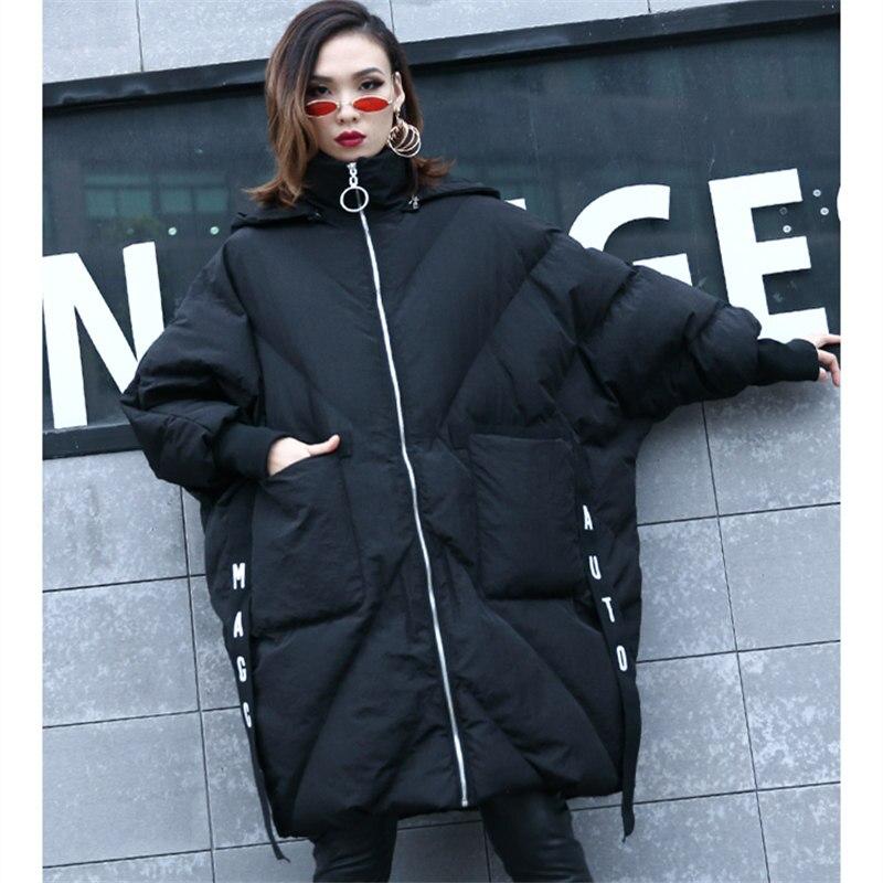 Parka La Veste Manches Chauve Capuchon souris Taille Plus Manteau Chaud Streetwear Vêtements À Pardessus Black Femmes Coton white Long Épais D'hiver Lq495 Nouvelle TTqgCWz