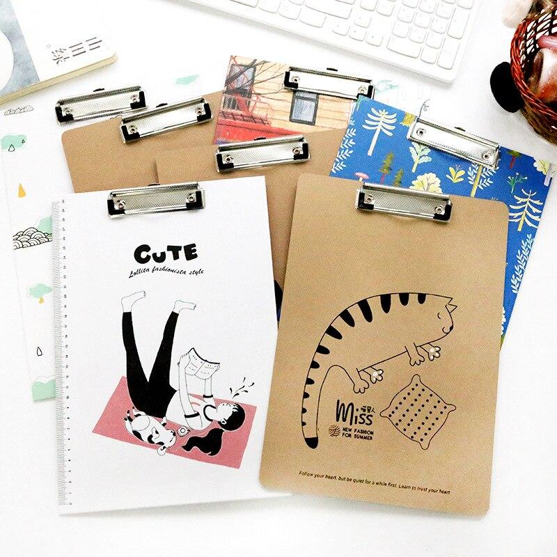 1Pcs 30x21cm Cute Cartoon Cat Animal Papers Writing File Mat Drawing Folder Clip Board Clipboard A4 For School Office Tool JB02