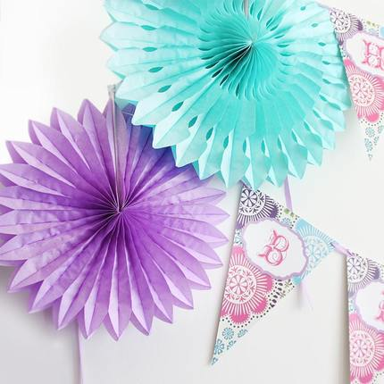 20PCS 20CM Assorted Colors Tissue Paper Fan Crafts For Wedding Wall ...