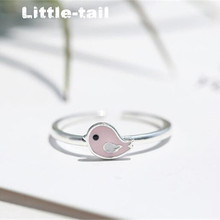New listing of 925 sterling silver lovely pink bird opening ring female Korean joint ring fresh and simple personality tide