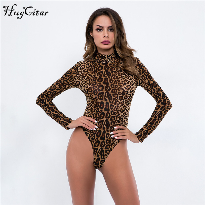 ea8e46cfa61 Hugcitar long sleeve high neck leopard print sexy bodysuit 2018 autumn  winter women fashion Christmas party body -in Bodysuits from Women s  Clothing on ...