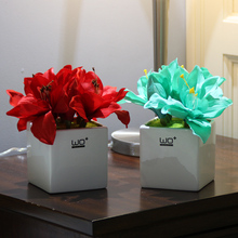 NEW Artificial flowers Ceramic vase Subshrubby peony flower bonsai potted home decoration Potted plants wedding