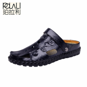 Image 3 - POLALI Size 38 44 Men Sandals Genuine Leather Fashion Summer Shoes Men Slippers Breathable Mens Sandals Causal Shoes Leather