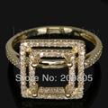 Новый Элегантный Vintage Princess 7 мм Solid 14kt Желтое Золото С Бриллиантами Обручальное Кольцо SR06