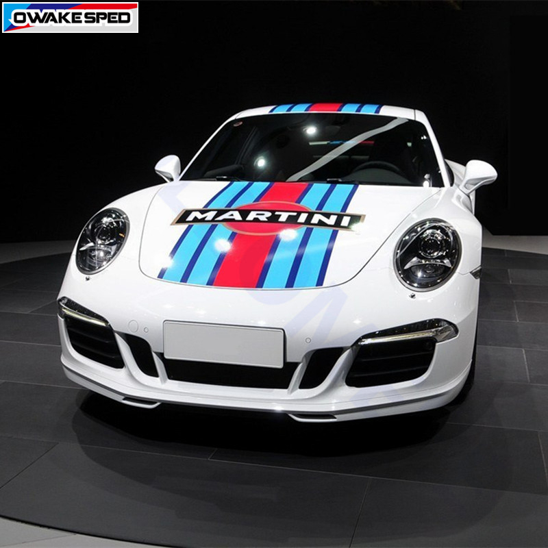 For Porsche Panamera 911 Martini Color Racing Stripes Car Hood Tail Wing Roof Decor Sticker Auto