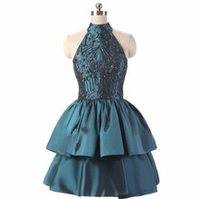 Real Photo High Neck Sleeveless Lime Cime Graduation Ball Gown Short Top Beading TT Watches Vestido Festa Baljurk Party Dresses