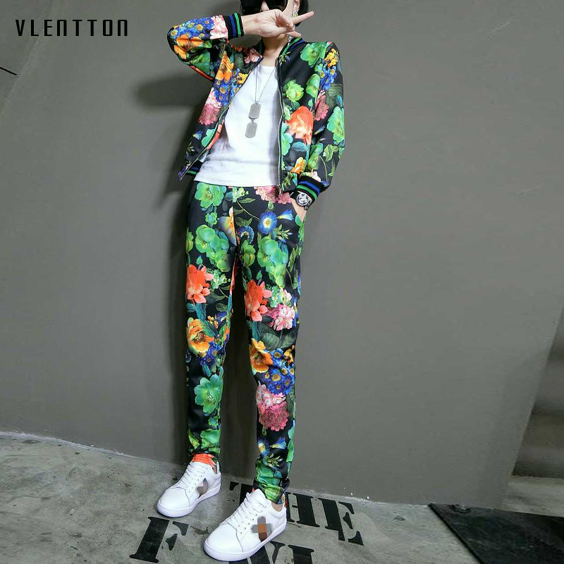 Tracksuit women 2 pieces set 2018 Spring autumn Casual Long sleeve printing Tops + Pants Two piece set outfits