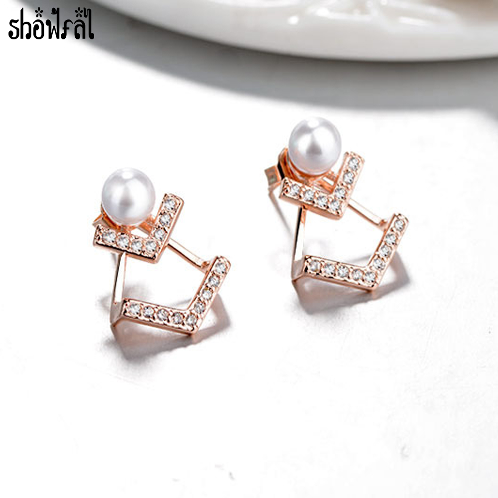 Fine Jewelry V Letter Pearl Crystal Earring Design Rose Gold Color Stud Earrings For Women Fashion Accessories 2017 In From