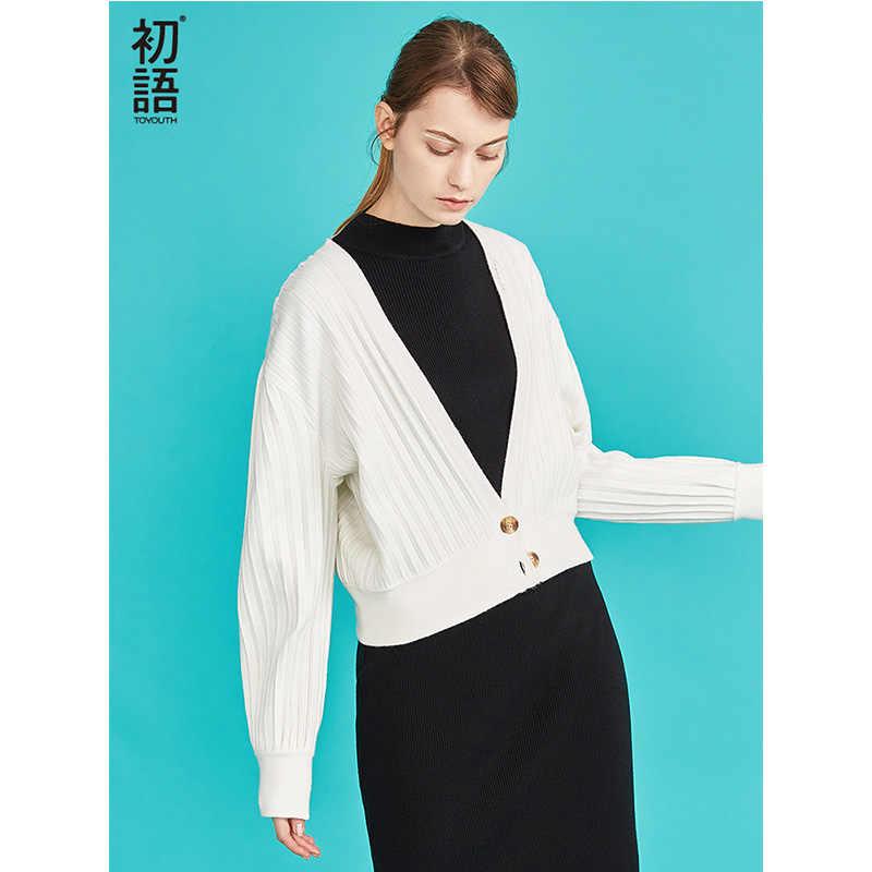 Toyouth New Solid V-neck Autumn Short Cardigan Women Oversized Sweater Lantern Sleeve Cardigans Female Elegent Striped Tops