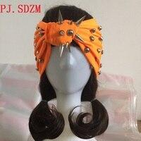 مخصص اليدوية امرأة فاسق برشام رباطات فتاة ليلة نادي الأزياء سبايك مربط عصابات اكسسوارات للشعر الشعر الفرقة الإناث FG0088