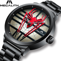 Fashion Personality Red Spider Watch Men MEGALITH Waterproof Quartz Sport Watch For Men Steel Strap Analogue Clock Reloj Hombre