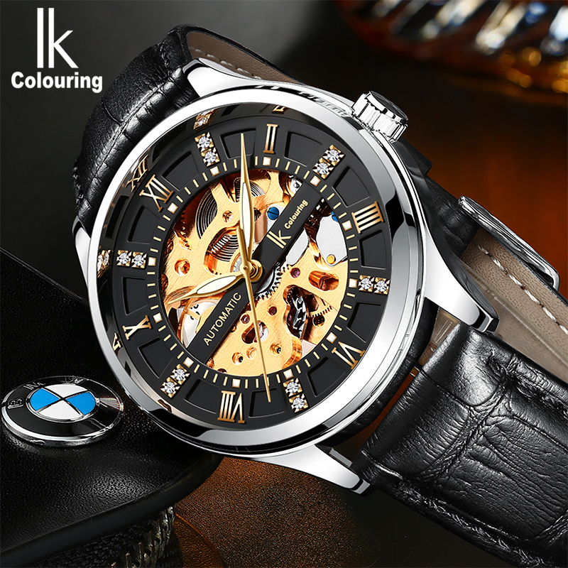 IK colouring reloj hombre Men's Watches 2018 Automatic Self Wind Mechanical Watch Men Stainless Steel Watches relogio masculino ik colouring mens watch automatic self wind mechanical watches for men watches luxury wristwatches stainless steel strap