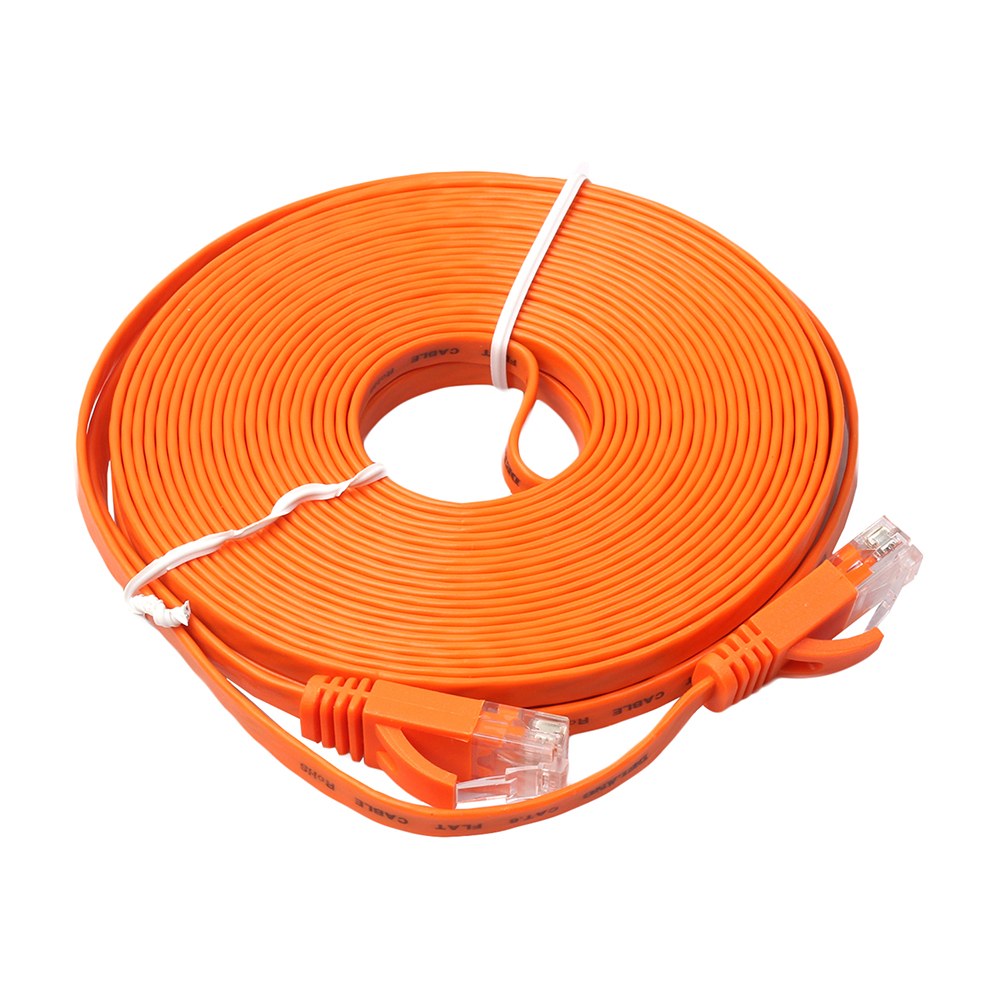 5m 8m 10m Cable FLAT Ethernet 1000Mbps CAT6 Network Cable Connector Patch Lead RJ45 Orange Networking Cable for PC/PS4/Xbox vivanco 45313 cat 6e network lead transparent 10m