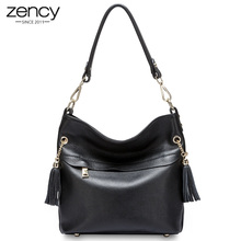 hot deal buy new arrival genuine leather women casual hangbags fashion totes for female lady shoulder bags nice tassel zipper purses ipad bag