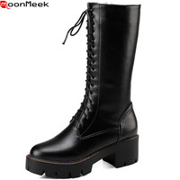 MoonMeek 2018 Fashion Autumn Winter Women Boots Round Toe Zipper Ladies Boots Square Heel Lace Up
