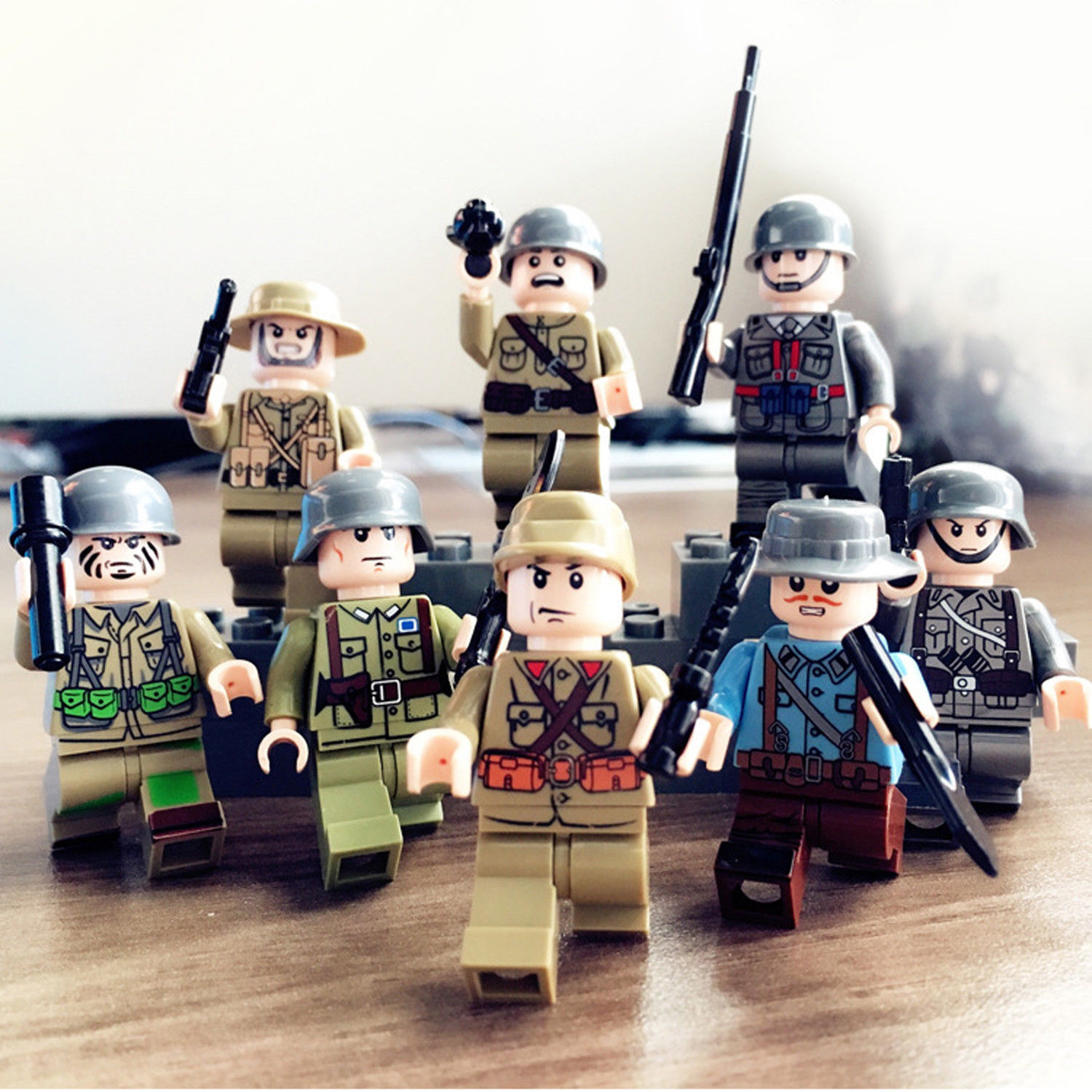 8pcs World War 2 Building Blocks 8 Country Army Soldier Us