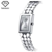FTV Rectangle Watch Girls Women Silver Wrist Watches Hardlex New with Tags Vogue Bracelet Wristwatches Girls's Present Field
