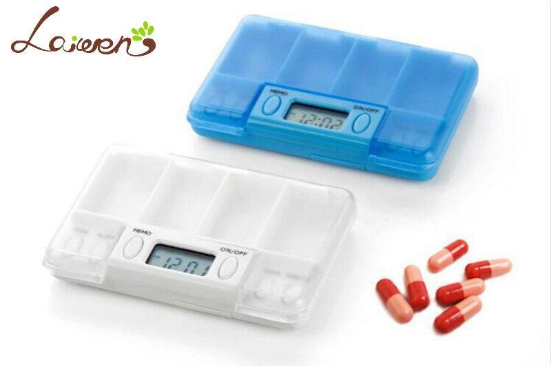 Laiwen 4 alarmes pilule minuterie rappel boîte à pilules minuterie médicaments rappel d'alarme HC-7000B livraison gratuite pilule cas avec minuterie