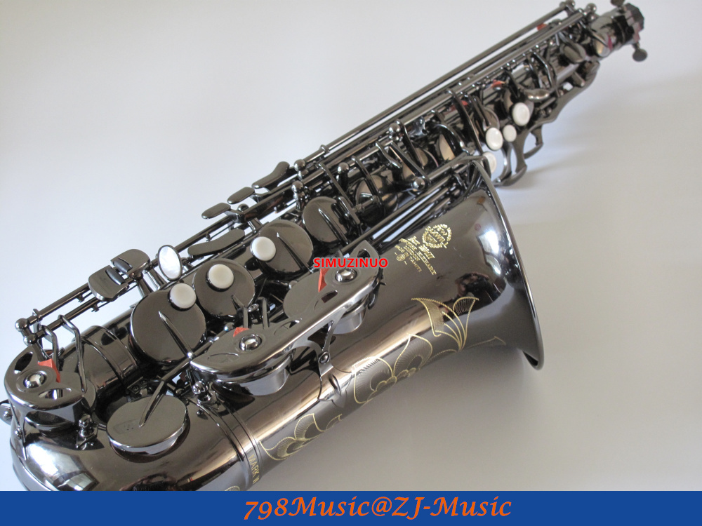 Black Nickel Eb Alto Saxophone High F# With-White Pearl Buttons