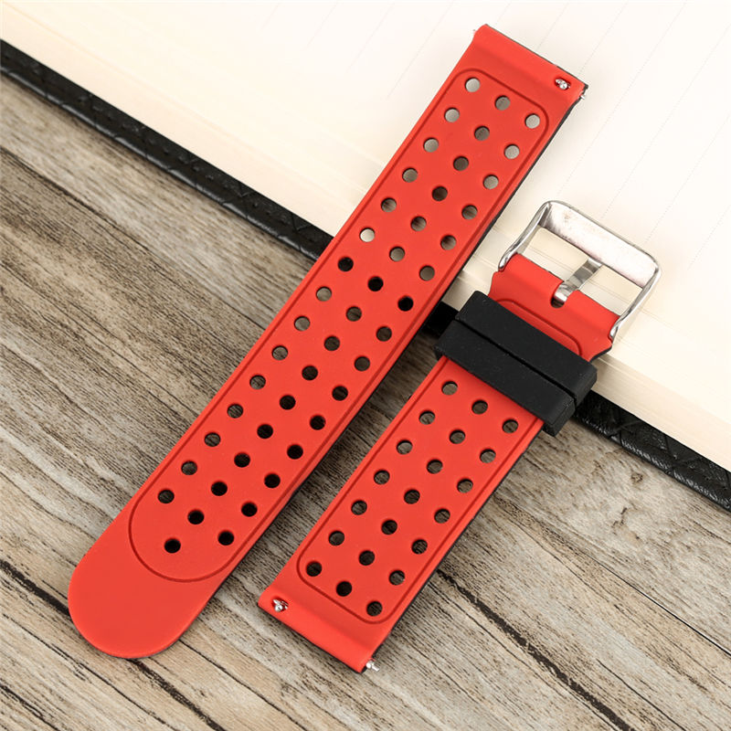 22MM Mixed Color Black And Red Watch Band Fashion Waterproof Replacement Soft Silicone Watch Strap With Round Hole Pin Buckle