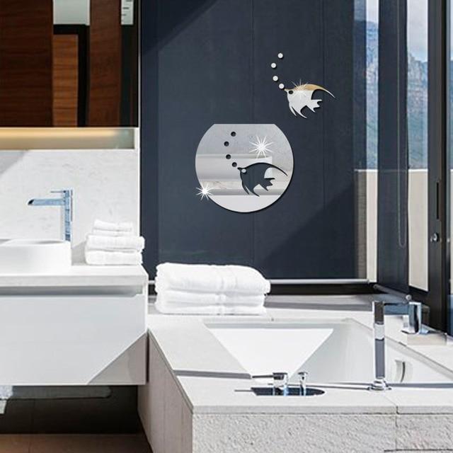 US $9.74 16% OFF|Feuerfeste spiegel wandaufkleber aquarium badezimmer wand  dekoration spiegel kreative aufkleber acryl material in Feuerfeste spiegel  ...