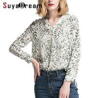 Women Silk Blouse 100 Real Silk Printed Casual Blouses V Neck Blusas Femininas 2018 Spring Summer