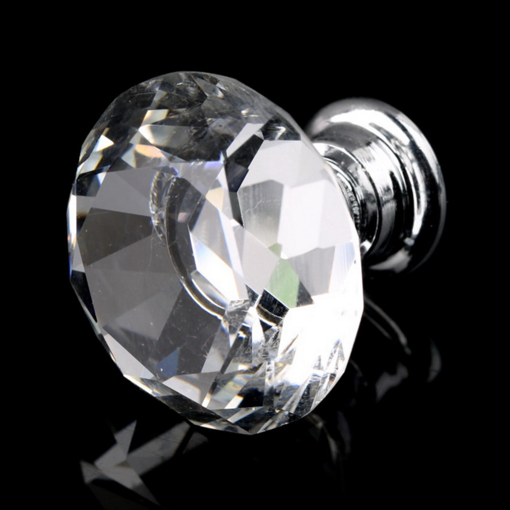 1pack/10 Pcs 30mm Diamond Shape Crystal Glass Drawer Cabinet Knob Pull Handle Kitchen Door Wardrobe Hardware