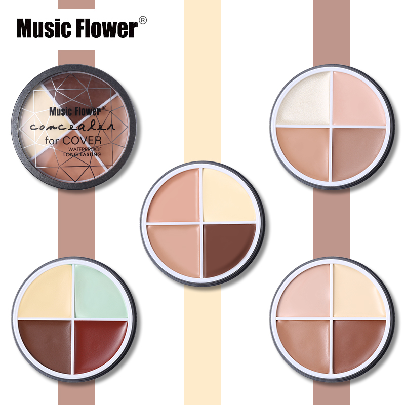 Music Flower 4 Color Corrector Concealer Cream Makeup Palette Waterproof Long Lasting Concealing Natural Face Contour Cosmetics image