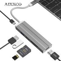 AIXXCO USB HUB USB C to HDMI Thunderbolt 3 Adapter for MacBook Samsung Galaxy S9 Huawei Mate 20 P20 Pro Type C USB 3.0 HUB