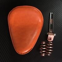 Old School Motorcycle Torsion Leather Solo Seat+3 Spring Bracket Mounting Base Kit Universal For Harley Bobber Saddle Seat