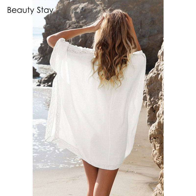 Beautystay Women Lace Collar Sexy Beach Dress Loose Plus Size Cotton - Ropa de mujer - foto 6