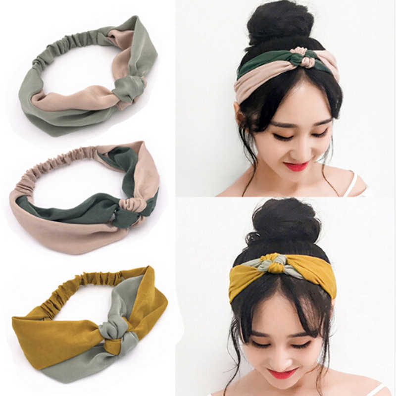 New Fashion Simple Cross Bow Patchwork Headwear Women Elegant Elastic Headband Hair Holder Ornament Bandanas Hair Accessories