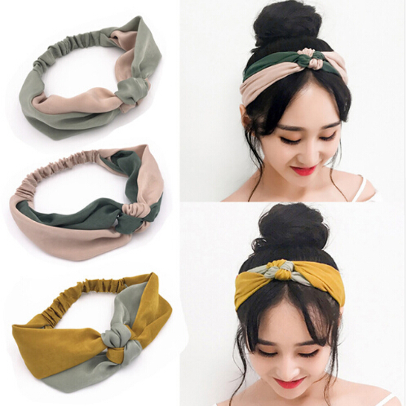 New Fashion Simple Cross Bow Patchwork Headwear Women Elegant Elastic Headband Hair Holder Ornament Bandanas Hair Accessories