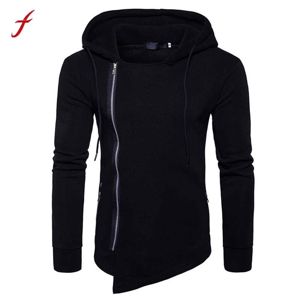 Winter Mens Personality Irregular Coat Casual Cotton Blend Long Sleeve Solid Hooded Zipper Hoodies Hoody Outwear Swearshirt ...