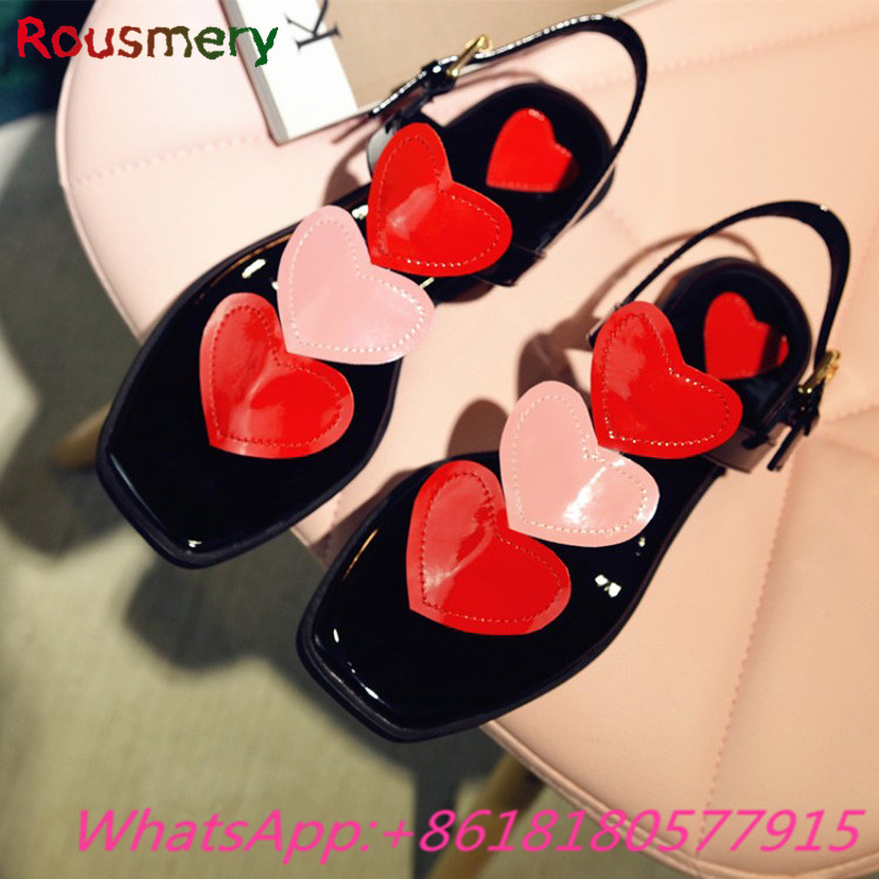 ФОТО Cute Heart-Shaped Woman Flat Sandals Casual Gladiator Attactive Sandalias Mujer Fashion Love Heart Ankle Strap Woman Shoes
