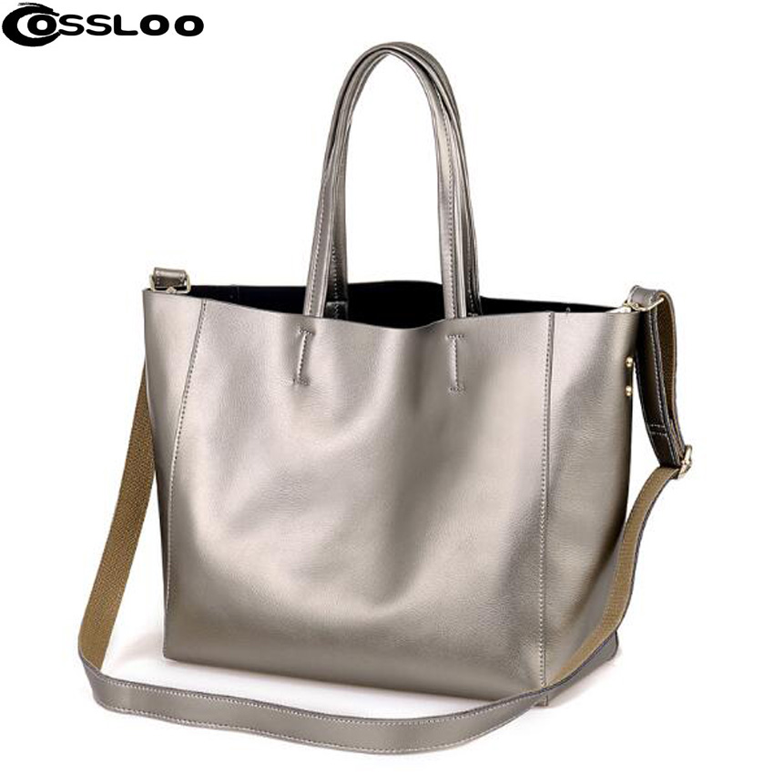 COSSLOO Women famous brand bags Genuine Leather handBags vintage messenger bag capacity pouch shoulder bag Handbag Tote Bolsas