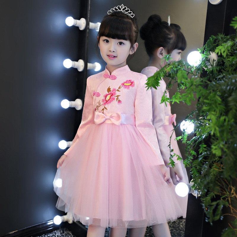 Autumn Winter Floral Girl Princess Dress Cheongsam Chinese Style New Year Gift Children Long Sleeve Kids Dresses Clothes 12 Year new fashion autumn winter girl dress polka dot