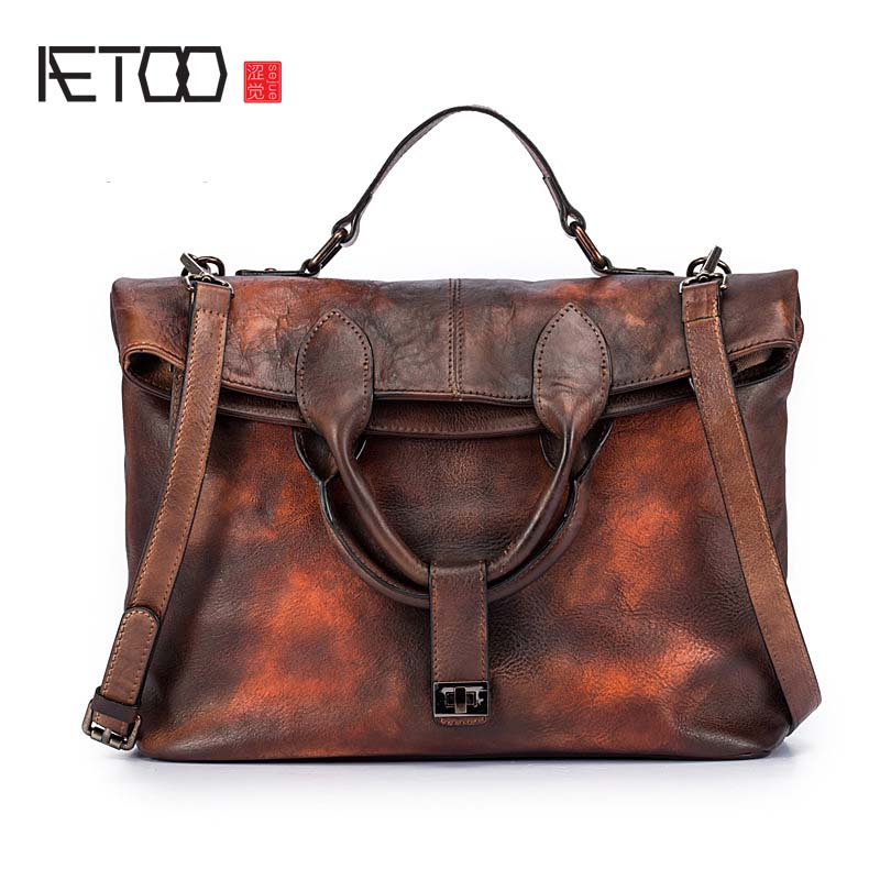 AETOO 2018 new Original women's first layer of leather shoulder diagonal handbag wipe the bulk of the retro large bag new korean version of the first layer of leather pillow bag large lychee pattern handbag shoulder messenger fashion leather leat