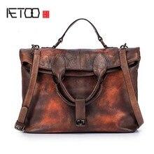 EUMOAN 2018 new Original womens first layer of leather shoulder diagonal handbag wipe the bulk retro large bag