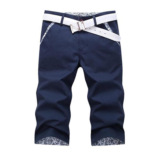 Homens verão finas Bezerro-Comprimento Calças Punhos Sólidos curto Homme roupas masculinas breeched casuais Reta calças de verão capris