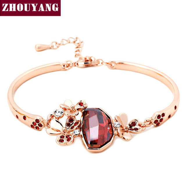 ZHOUYANG Top Quality ZYH207  Clover Red Crytal  Rose Gold Plated Bracelet Jewelry   Austrian Crystal Wholesale
