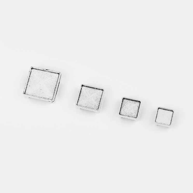 10pcs Antique Silver Square Blank Bezel Tray Slider Spacer Jewelry For 10*2mm Flat Leather Cord Jewlery Bracelet Making Findings