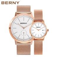 Берни Для мужчин/Для женщин Часы кварцевые Модный Топ люксовый бренд saati Reloj Hombre zegarek Montre Relogio Saat masculino feminino