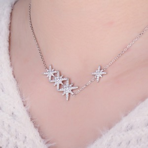 Image 4 - JewelryPalace Star CZ Sterling Silver Pendant Necklace 925 Sterling Silver Chain Choker Statement Collar Necklace Women 45cm