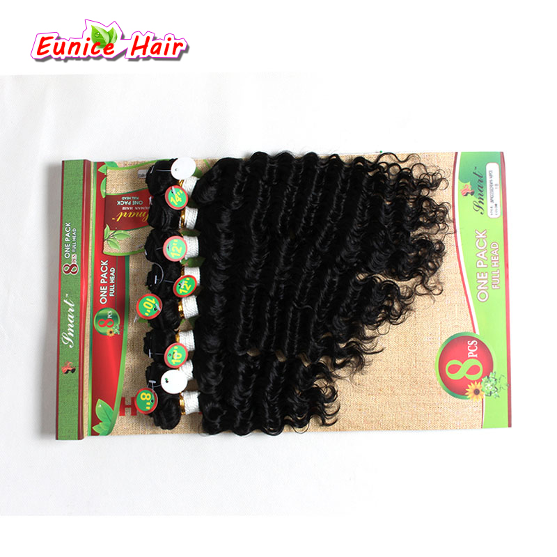 Eunice Hair 8-14inch Ombre #1B/30 #1B/Bug Loose Wave Weave Synthetic Sew in hair Extensions for black women 8pcs/pack