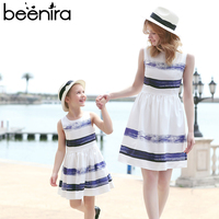 Beenira 2018 Striped Dress European and American Style Family Matching Outfits Mother Or Daughter Dress Sleeveless Party Dress