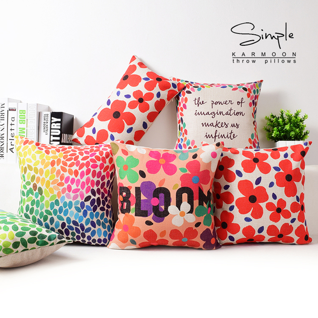 Colorful Watercolor Cushion Cover Bloom Dots Flowers Quotethrow Pillow Case Linen Orange Beautiful Couch Sofa Home